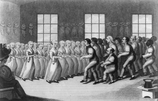 Танцы секты шейкеров возле Нью-Йорка