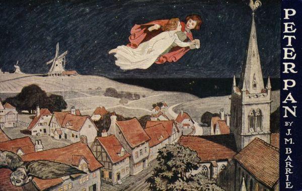 Иллюстрация Питера Пэна и Венди, летающих над городом.
