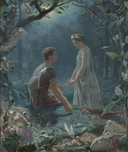 Гермия и Лизандр. Сон в летнюю ночь, картина Джона Симмонса, 1870